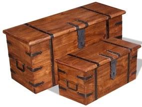 244050 vidaXL Conjunto de arcas de arrumação 2 pcs madeira maciça