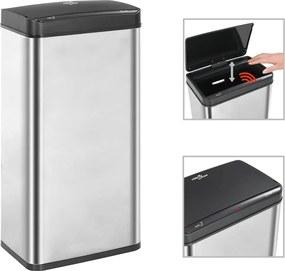 Caixote do lixo c/ sensor 80 L aço inoxidável prateado e preto