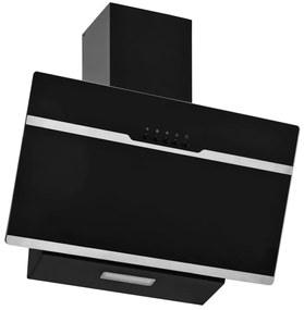 51117 vidaXL Exaustor de parede 60 cm aço inoxidável e vidro temperado preto