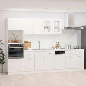 3067628 vidaXL 7 pcs conj. armários de cozinha contraplacado branco brilhante
