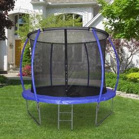 HOMCOM Trampolim ao ar livre para adultos e crianças 244cm de diâmetro Carga de 100kg Azul