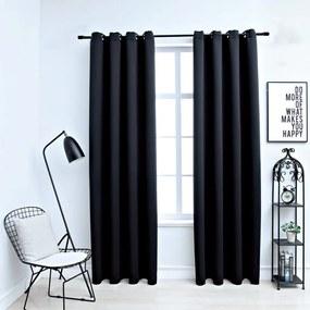 134411 vidaXL Cortinas blackout com argolas em metal 2 pcs 140x225 cm preto