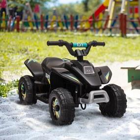 HOMCOM Quadriciclo Elétrico para Crianças acima de 3 Anos Veículo Elétrico Quadriciclo a Bateria 6V com Avance e Retrocesso Carga Máx. 30kg 72x40x45,5cm Preto