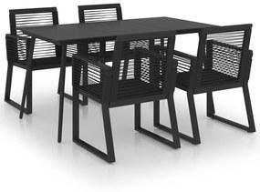 3060215 vidaXL 5 pcs conjunto de jantar para jardim vime de PVC preto