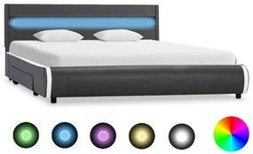 284980 vidaXL Estrutura de cama c/ LED 120x200 cm couro artificial antracite