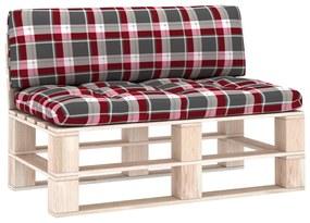 314658 vidaXL Almofadões para sofás de paletes 2 pcs padrão vermelho xadrez