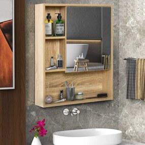 kleankin Armário para banheiro de madeira montado na parede com espelho, porta de vidro e prateleira aberta ajustável 60x 15x 76cm em grão de carvalho