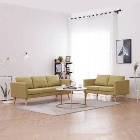 276854 vidaXL 2 pcs conjunto de sofás tecido verde