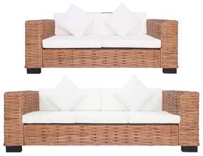 278623 vidaXL 2 pcs conjunto de sofás com almofadões vime natural