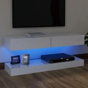 804253 vidaXL Móvel de TV com luzes LED 120x35 cm branco brilhante