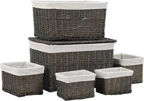 6 pcs conjunto de cestos empilháveis salgueiro natural cinzento