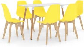 7 pcs conjunto de jantar amarelo