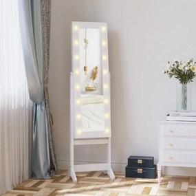 HOMCOM Guarda-Joias de Pé, com Espelho, Armário para Joias 16 Luzes LED Reclinável 36x30x136cm Branco