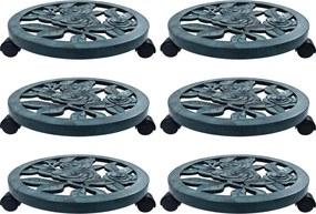 Suportes com rodas para plantas 6 pcs 38 cm plástico verde