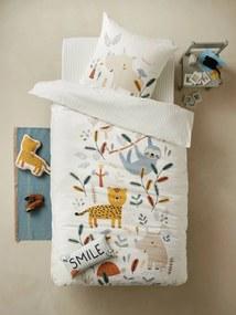 Conjunto capa de edredon + fronha de almofada, tema JUNGLE PARADISE branco claro estampado