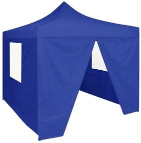 48879 vidaXL Tenda dobrável profissional festas 4 paredes 2x2 m aço azul