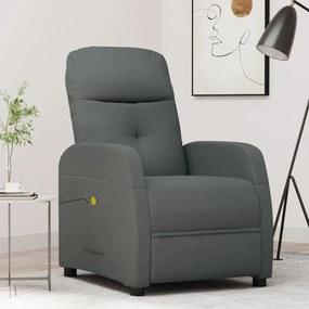 289827 vidaXL Poltrona de massagens reclinável tecido cinzento-escuro