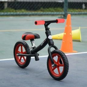 HOMCOM Bicicleta sem pedal para crianças acima de 2 anos com selim ajustável em altura Pneus EVA máx. 25 kg Metal 65x33x46 cm Preto