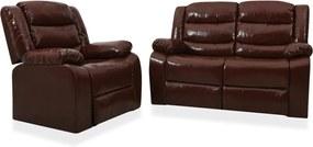 2 pcs conjunto de sofás reclináveis couro artificial castanho