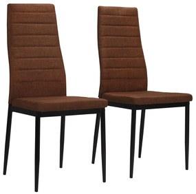 246183 vidaXL Cadeiras de jantar 2 pcs tecido castanho