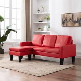 288772 vidaXL Sofá de 3 lugares c/ apoio de pés couro artificial vermelho