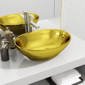 143474 vidaXL Lavatório 40x33x13,5 cm cerâmica dourado