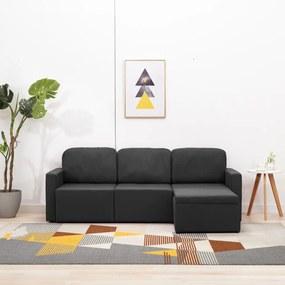 288784 vidaXL Sofá-cama modular de 3 lugares tecido cinzento-escuro