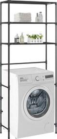 Estante de 3 prateleiras para lavandaria 69x28x169 cm preto