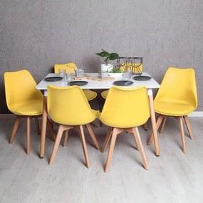 Conjunto Mesa Tower Retangular 120 x 80 cm Branca e Pack 6 Cadeiras Synk Basic