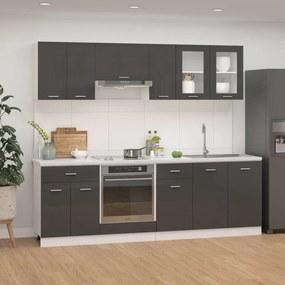 3067654 vidaXL 8 pcs conj. armários cozinha contraplacado cinzento brilhante
