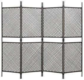 47836 vidaXL Divisória de quarto com 4 painéis 240x200 cm vime PE castanho