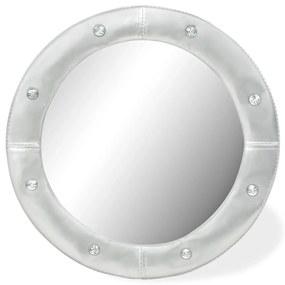 245600 vidaXL Espelho de parede couro artificial 60 cm prateado brilhante