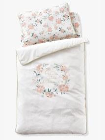 Capa de edredon para bebé, tema Eau de Rose branco claro liso com motivo