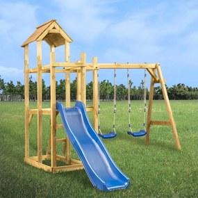 279063 vidaXL Casa de brincar com escorrega baloiço e escada 285x305x226,5 cm
