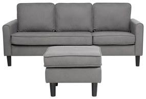 Sofá de 3 lugares com repousa-pés em tecido cinzento claro AVESTA