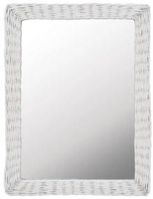 246841 vidaXL Espelho em vime branco 60x80 cm