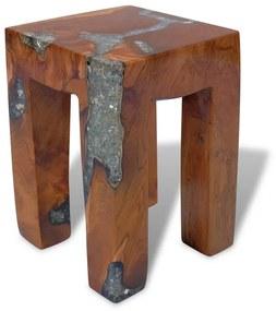243470 vidaXL Banco em madeira de teca maciça e resina 30x30x40 cm