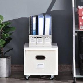 Vinsetto Gaveta móvel com caixa de armazenamento de pano dobrável 36x40x35 cm Branco