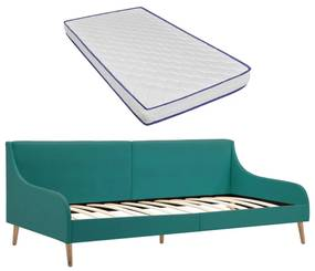 279151 vidaXL Sofá com colchão espuma de memória tecido verde