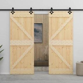 3057582 vidaXL Porta de correr com ferragens 80x210 cm madeira de pinho maciça