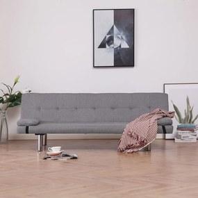 282183 vidaXL Sofá-cama com duas almofadas poliéster cinzento claro