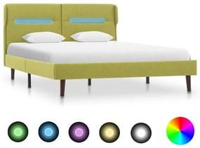 286903 vidaXL Estrutura de cama com LED tecido 120x200 cm verde
