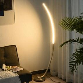 HOMCOM Luminária de piso com luz LED amarela Base de metal Pedal interruptor Design elegante Potência máx. 18 W 50x23x149cm Prata