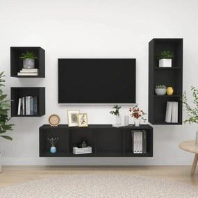 3079773 vidaXL 4 pcs conjunto de móveis de TV contraplacado preto