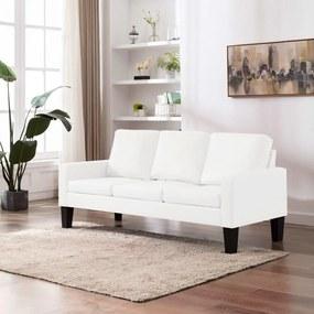 288760 vidaXL Sofá de 3 lugares couro artificial branco