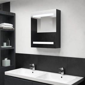 326480 vidaXL Armário espelhado p/ casa de banho com LED 50x14x60 cm preto