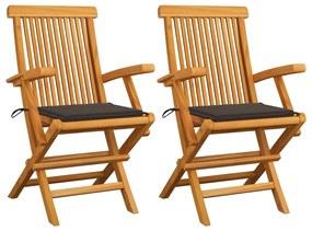 3062495 vidaXL Cadeiras de jardim c/ almofadões cinza-acast. 2 pcs teca maciça