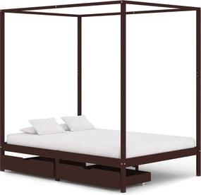 Estrutura cama dossel 2 gavetas 120x200cm pinho castanho-escuro