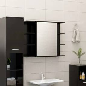 802607 vidaXL Armário casa banho c/ espelho 80x20,5x64cm contraplacado preto