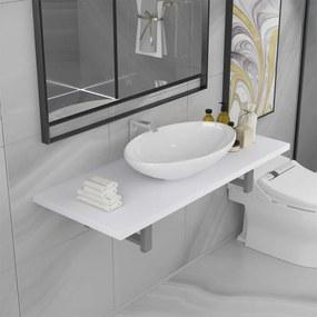 279360 vidaXL Conjunto de móveis de casa banho 2 peças cerâmica branco
